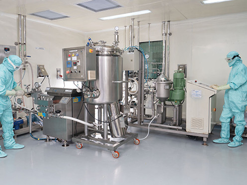 Cell harvesting & homogenisation at GMP manufacturing plant at Puducherry.